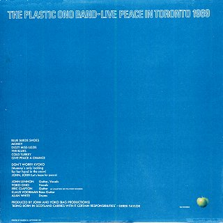 Live Peace In Toronto - Rear Cover